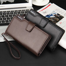 Mens Genuine Leather ID Bifold Clutch  Long Wallet Credit Card Purse Holder