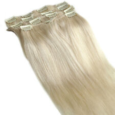 Silky Straight Clips In Human Hair Extensions 7pcs/set 16''-30'' Platinum Blonde
