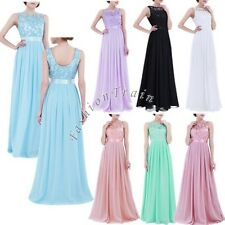 Women Wedding Toast Long Chiffon Bridesmaid Lace Party Gown Maxi Dress Size 4-16