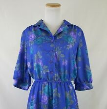 Vintage 70's Blue & Purple Floral Collared Dress by California Looks Sz 14P