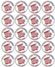 30-90 PRE-CUT EDIBLE WAFER CUP CAKE TOPPERS BINGO GAME BINGO FAN ANY TEXT/ NAME