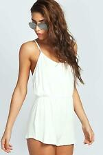 Boohoo Womens Kate Draped Strappy Back Jersey Playsuit