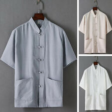Mens Linen Casual Shirts short Sleeves Loose Chinese style Button Tang suit tops