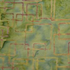 Quilting Fabric Cotton Calico Quilt Green Batik Geometric: FQ & Cut-to-Order
