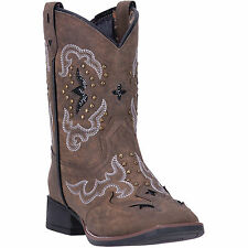 Laredo Childrens Girls Brown Spellbound Faux Leather Cowboy Boots