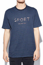 New BARNEY COOLS Mens Sports Embro Homie Stripe Tee Navy Stripe Pink