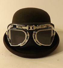 Bowler Hat With Goggles New Classic Vintage Style Steam Punk Wool Brown S M L XL