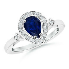 Pear Blue Sapphire Engagement Ring with Diamond Accents 14k White Gold Size 3-13