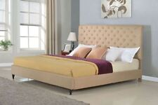Queen King Twin Full Size Platform Bed Frame Wood Tufted Button Brown Headboard
