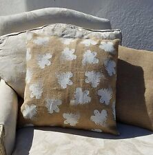 Natural and White Halloween Ghost Print Burlap Cushion Cover - NEW!