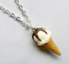 Vanilla With Chocolate Syrup Topping Ice Cream Cone Waffle Cone Necklace, Cute!