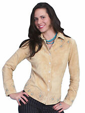 Scully Leather Womens Studded Boar Suede Western Shirt Chamois L/S