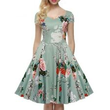 Women Floral Printed Summer Casual A-line Midi V-neck Dress