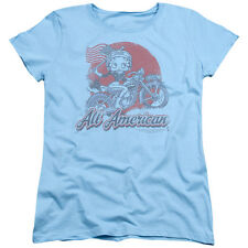 Betty Boop ALL AMERICAN BIKER Licensed Women's T-Shirt All Sizes