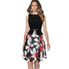 Summer Vintage Polka Dot Floral Print Office Party Dress For Women