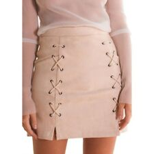 Women Autumn Winter A-line High Waist Solid Lace Up Vintage Casual Mini Skirt