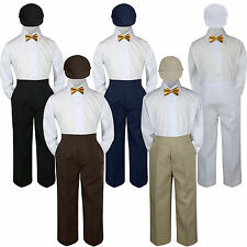 4pc Boys Suit Set Gold Bow Tie Baby Toddlers Kids Formal Hat Pants S-7 Wedding
