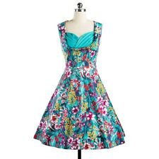 Women Green Color A-line Sleeveless Spring Summer Wear Floral Print Dress EQ496