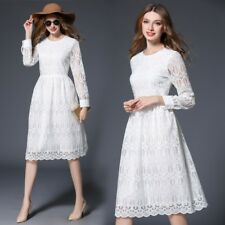 Women Lace Chiffon Pleated White Color Long Sleeves Dress ZQ337