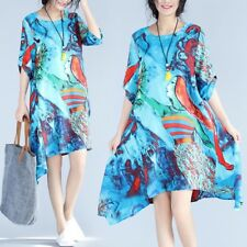 Summer Fashion Floral Printed Loose Linen A-line Dress For Women ZQ328