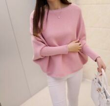 Women Knitted Long Sleeve Batwing Coat Solid Crocheted Sweaters Tops