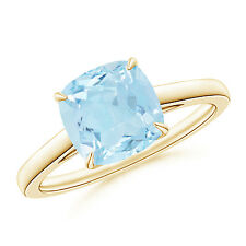 Vintage Solitaire Cushion Cut Aquamarine Cocktail Ring 14K Yellow Gold