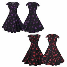 Vintage 50s 60s ROCKABILLY DRESS Heart Swing Pinup Retro Housewife Party Dress