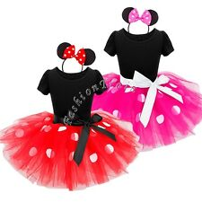 Baby Kids Polka Dots Minnie Mouse Outfit Party Ballet Costume Tutu Skirt Dress