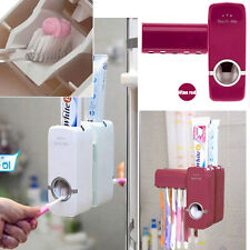 WALL MOUNT WHITE AUTOMATIC AUTO TOOTHPASTE DISPENSER+TOOTHBRUSH HOLDER WHITE/RED
