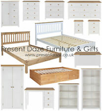Capri White Bedroom Furniture with Pine Tops | White/ Pine Bookcase and Wardrobe