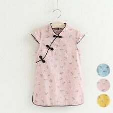 3 Color Kids Girls Chinese Cotton Children's Cheongsam Dress/Qipao size:6-15