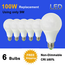 100W Equivalent E27 9W LED Light Globe Bulb Lamp 12-24V/85-265V 6 Pack #T