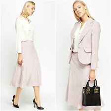 Womens Nude Tailored One Button Flap Pocket Lapel Blazer Midi Flared Skirt Suit