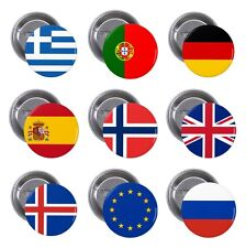 Flags of Europe, European Countries on Pin / Button Badge 25mm, 38mm, 45mm, 58mm