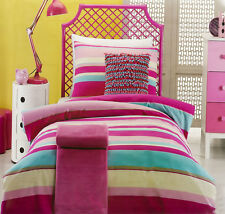 Ruby Stripe Quilt Cover Set Doona Duvet Cover Girls Bedding Striped Pink Aqua