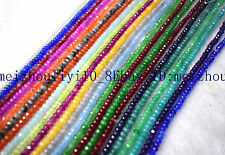2x4mm Mulitcolor Faceted Gemtoen roundlle Gemstone Loose Beads 15''AAA