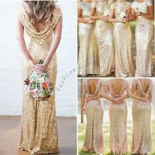 Women's Formal Sequin Long Prom Evening Party Cocktail Bridesmaid Wedding Dress