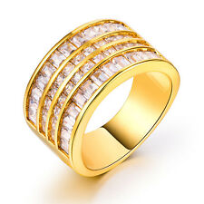 Gorgeous 18k Yellow Gold Plated Princess Cut White Sapphire Ring Size 7-9