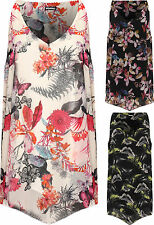 Plus Womens Strappy Lined Vest Top Ladies Sleeveless Dip Hem Butterfly Print New