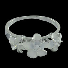 Hawaiian Jewelry Ring Plumeria Flower 8-10-8mm 925 Sterling Silver