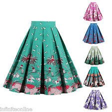 Fashion Women Summer Floral A-Line Skirt Retro Short Mini Pleated Skirt Dress
