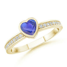 Bezel Heart Natural Tanzanite Promise Ring with Diamond Accents 14k Yellow Gold