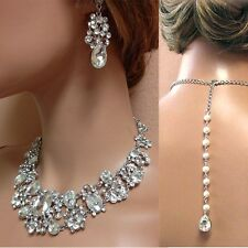 Silver/Gold/Rose Gold Wedding Jewelry Set, Necklace Earring Bridal Jewelry Set,