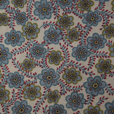 Quilting Fabric Cotton Calico Quilt FQ Green Folk Art Floral Print by Moda