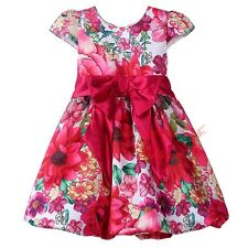 Girls Flower Bubble Party Dress Princess Toddler Kids Bow Foral Wedding Pageant