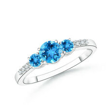 Three Stone Round Natural Blue Topaz Ring with Diamond Accents in 14k White Gold