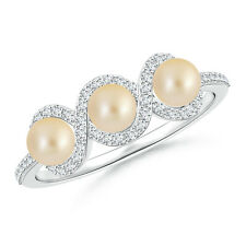 Three Stone Golden Japanese Cultured Pearl Ring with Diamond Accents 14k Gold