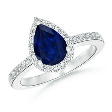 Pear Shape Natural Sapphire Engagement Wedding Ring with Diamond Halo 14k Gold