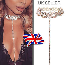 Women Silver/Gold Diamante Rhinestone Crystal Choker Bling Party Necklace -UK
