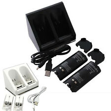 Nintendo Wii Remote 2/4 Charging Charger Dock Station + 2x 2800mAh Batteries NEW